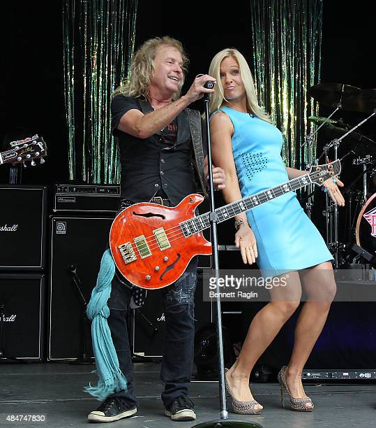 Bassist Jack Blades of Night Ranger and Anna Kooiman of Fox News onstage at 'FOX Friends' All American Concert Series during 'FOX Friends' All...