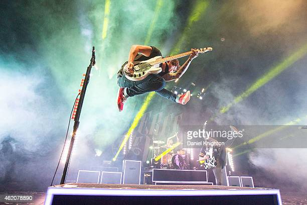 Bassist Jaime Preciado of Pierce The Veil performs on stage at Viejas Arena on January 23 2015 in San Diego California