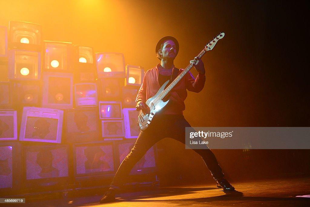 Bassist Jeph Howard of The Used performs at Sands Bethlehem Event Center on April 19, 2014 in Bethlehem, Pennsylvania.