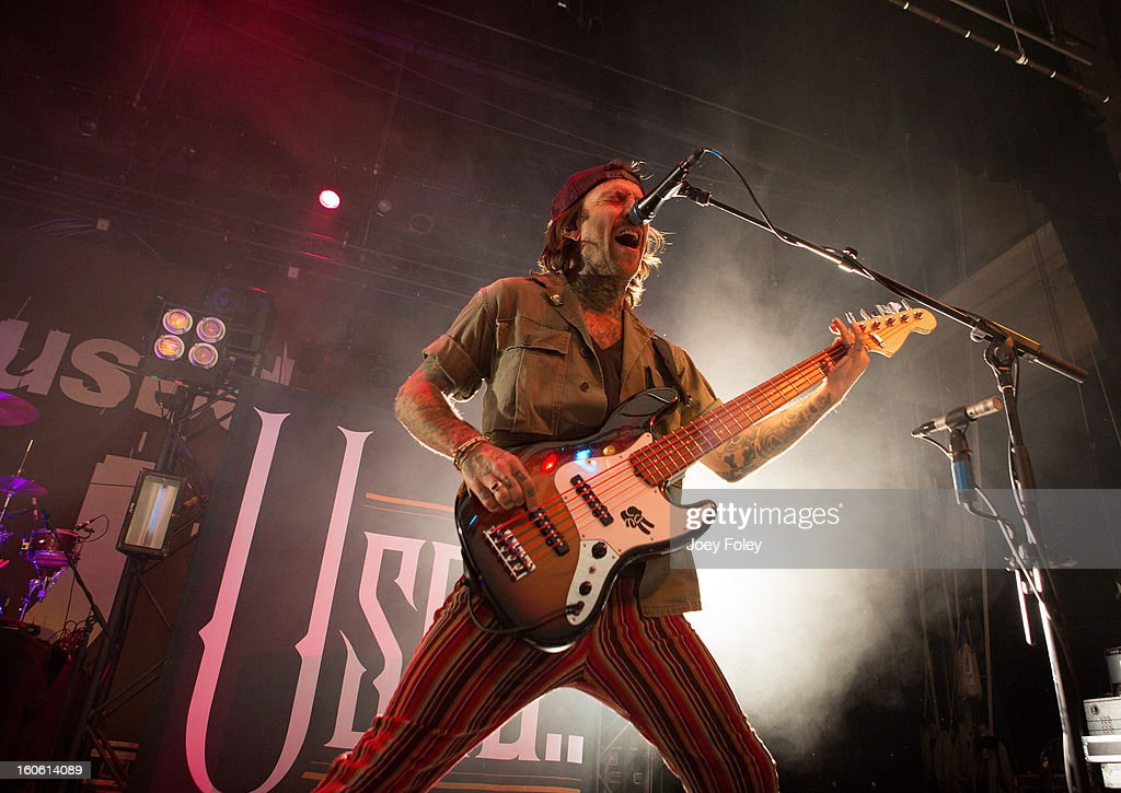Bassist Jeph Howard of The Used performs at the Murat Egyptian Room on January 20, 2013 in Indianapolis, Indiana.