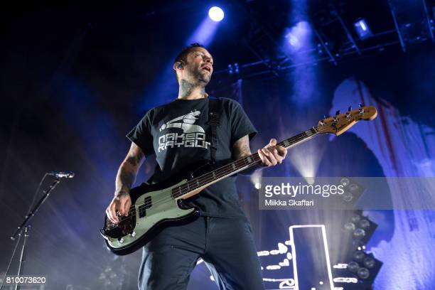 Bassist Joe Principe of Rise Against performs at Concord Pavilion on July 6 2017 in Concord California