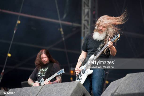 Bassist John Campbell and guitarist Willie Adler of American heavy metal group Lamb Of God performing live on the Jim Marshall Stage at Download...