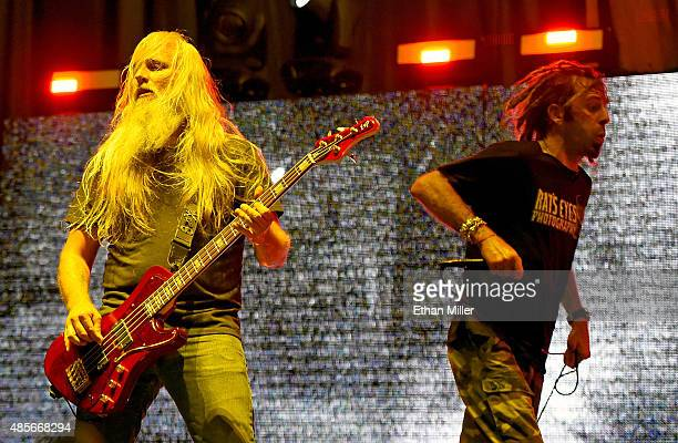 Bassist John Campbell and singer Randy Blythe of Lamb of God perform at the Las Vegas Village on August 28 2015 in Las Vegas Nevada