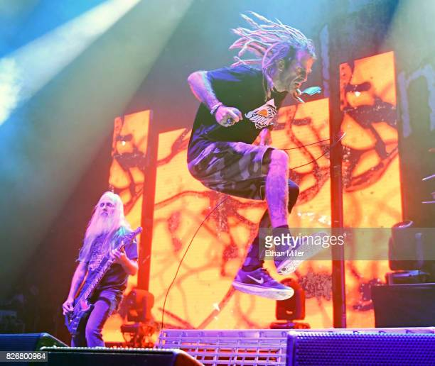 Bassist John Campbell and singer Randy Blythe of Lamb of God performs at The Joint inside the Hard Rock Hotel Casino on August 4 2017 in Las Vegas...