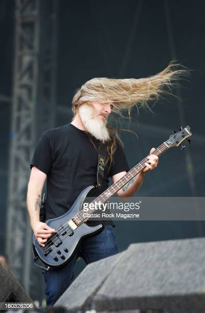 Bassist John Campbell of American heavy metal group Lamb Of God performing live on the Jim Marshall Stage at Download Festival on June 10 2012