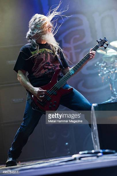 Bassist John Campbell of American heavy metal group Lamb Of God performing live on stage at Bloodstock Open Air festival in Derbyshire England on...