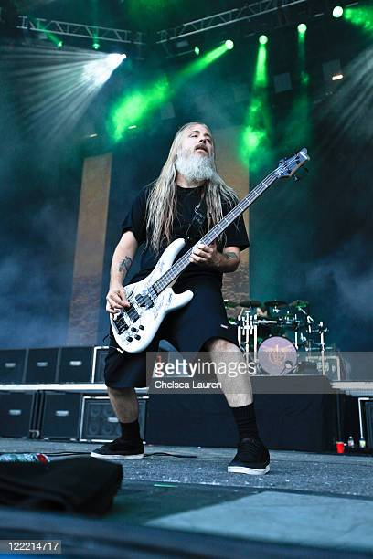 Bassist John Campbell of Lamb of God performs at the 2010 Rockstar Energy Drink Mayhem Festival at San Manuel Amphitheater on July 10 2010 in San...