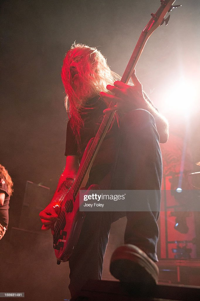 Bassist John Campbell of Lamb of God performs at The Egyptian Room at Old National Centre on November 8, 2012 in Indianapolis, Indiana.