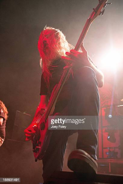 Bassist John Campbell of Lamb of God performs at The Egyptian Room at Old National Centre on November 8 2012 in Indianapolis Indiana