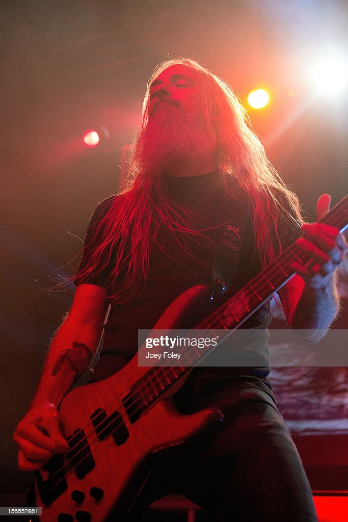 Bassist <a gi-track='captionPersonalityLinkClicked' href=/galleries/search?phrase=John+Campbell+-+Bassista&family=editorial&specificpeople=4681333 ng-click='$event.stopPropagation()'>John Campbell</a> of Lamb of God performs at The Egyptian Room in Old National Centre on November 8, 2012 in Indianapolis, Indiana.