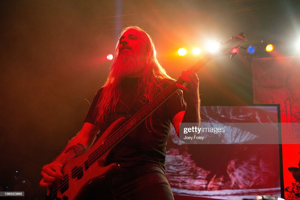 Bassist <a gi-track='captionPersonalityLinkClicked' href=/galleries/search?phrase=John+Campbell+-+Bassist&family=editorial&specificpeople=4681333 ng-click='$event.stopPropagation()'>John Campbell</a> of Lamb of God performs at The Egyptian Room in Old National Centre on November 8, 2012 in Indianapolis, Indiana.