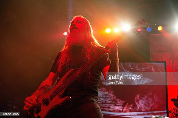Bassist John Campbell of Lamb of God performs at The Egyptian Room in Old National Centre on November 8 2012 in Indianapolis Indiana