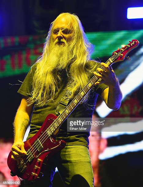 Bassist John Campbell of Lamb of God performs at the Las Vegas Village on August 28 2015 in Las Vegas Nevada