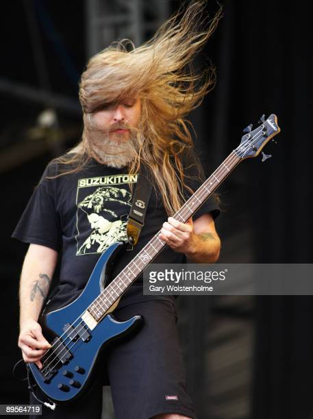 Bassist John Campbell of Lamb of God performs on stage on the second day of Sonisphere at Knebworth House on August 2 2009 in Stevenage England