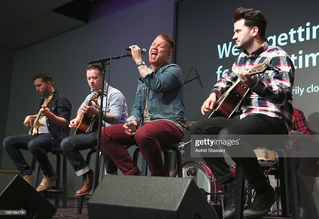 Bassist Jon Thompson, Guitarist Dusty Redmon, singer Aaron Gillespie and guitarist Jay Vilardi of The Almost perform during Apple Store Soho Presents: The Almost at Apple Store Soho on January 19, 2013 in New York City.