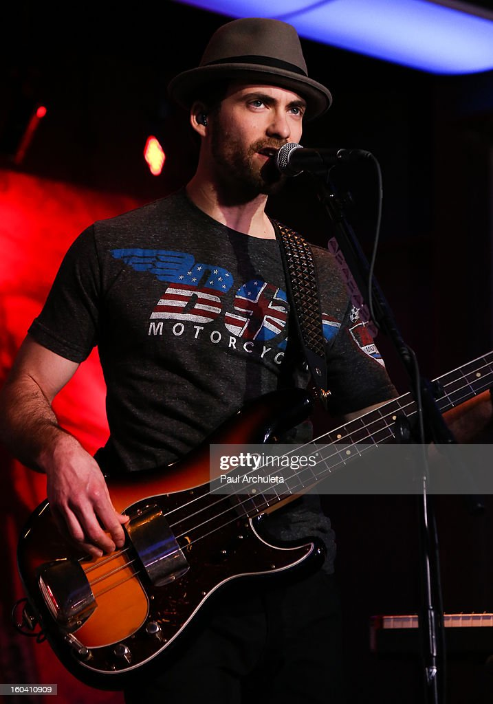 Bassist Josh Smith of the Metal Band Halestorm perform at the 5th annual Revolver Golden Gods Awards nominee announcements at the Hard Rock Cafe Hollywood on January 30, 2013 in Hollywood, California.