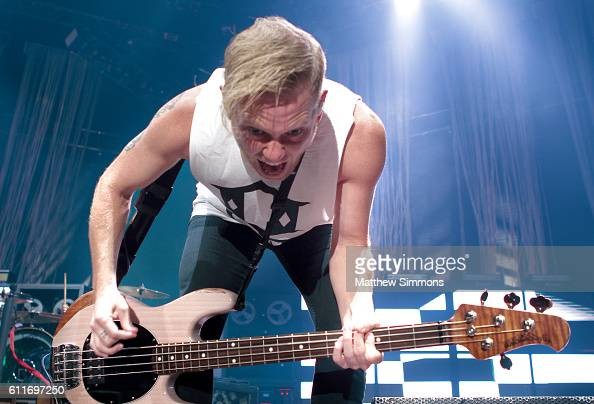 Bassist Joshua Woodard of A Day to Remember performs onstage at The Forum on September 30 2016 in Inglewood California