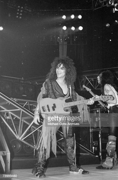 Bassist Juan Croucier of the rock band 'Ratt' pefrofms onstage in 1991 in Los Angeles California