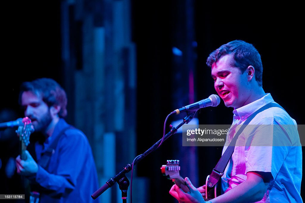 Bassist Kevin Williams (L) and lead vocalist/guitarist John Paul Pitts of Surfer Blood perform onstage at the 'Hurley Rocks You Back To School' concert series on September 29, 2012 in Santa Ana, California.