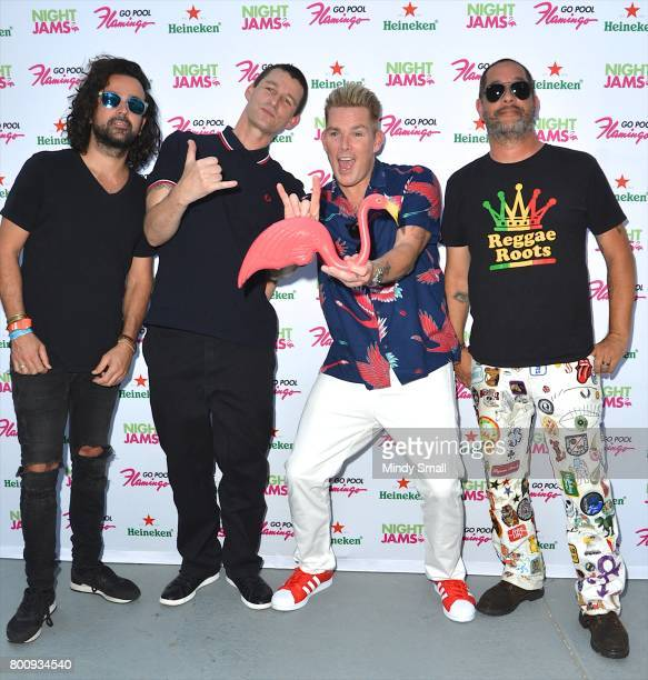 Bassist Kristian Attard drummer Dean Butterworth singer Mark McGrath and guitarist Rodney Sheppard of Sugar Ray arrive at the Flamingo Go pool at...