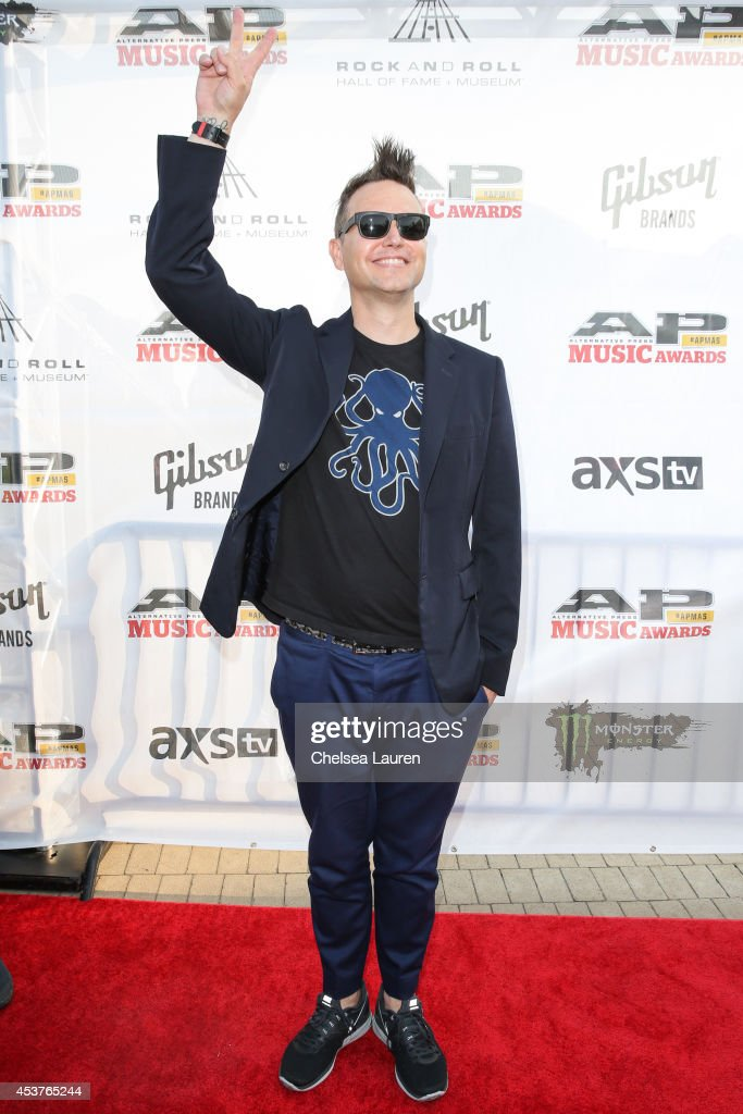 Bassist <a gi-track='captionPersonalityLinkClicked' href=/galleries/search?phrase=Mark+Hoppus&family=editorial&specificpeople=211529 ng-click='$event.stopPropagation()'>Mark Hoppus</a> of Blink 182 attends the 2014 Gibson Brands AP Music Awards at the Rock and Roll Hall of Fame and Museum on July 21, 2014 in Cleveland, Ohio.
