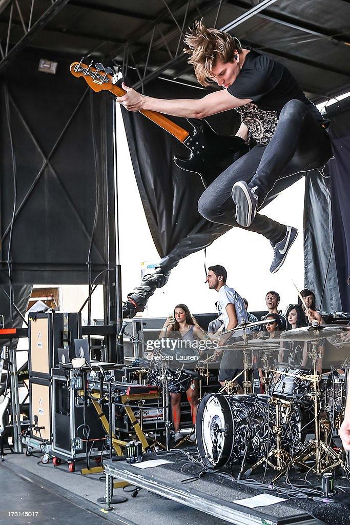Bassist Matt Kean of Bring Me The Horizon performs at the Vans Warped Tour on June 23, 2013 in Ventura, California.
