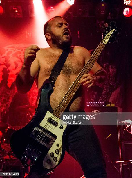 Bassist Matthew Slattery of King Parrot performs at Slim's on June 8 2016 in San Francisco California