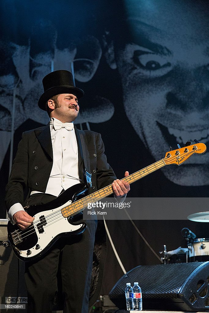 Bassist Mattias Bernvall aka Dr. Matt Destruction of The Hives performs in concert at Emo's East on February 20, 2013 in Austin, Texas.
