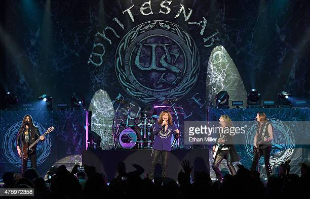 Bassist Michael Devin singer David Coverdale and guitarists Joel Hoekstra and Reb Beach of Whitesnake perform at The Joint inside the Hard Rock Hotel...