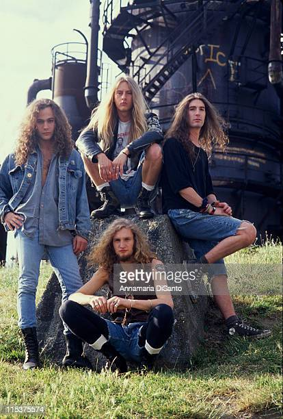 Bassist Mike Starr singer Layne Staley guitarist Jerry Cantrell and drummer Sean Kinney of Alice in Chains pose during their official first record...