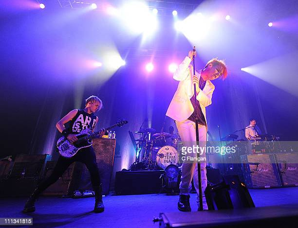 Bassist Mikey Way and Singer Gerard Way of My Chemical Romance perfom during the 2011 World Contamination Tour at The Fox Theatre on March 31 2011 in...
