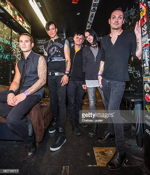 Bassist Nic Speck vocalist Jay Gordon guitarist Ashburn Miller guitarist Carlton Bost and drummer Jamie Miller of Orgy pose backstage at The Roxy...