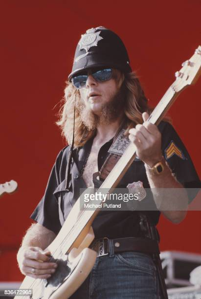 Bassist of Southern Rock band Lynyrd Skynyrd Leon Wilkenson performs on stage at Knebworth 21st August 1976