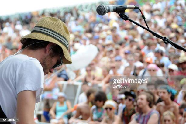 Bassist Paul Backburn of Gomez performs on stage during Bonnaroo 2009 on June 12 2009 in Manchester Tennessee