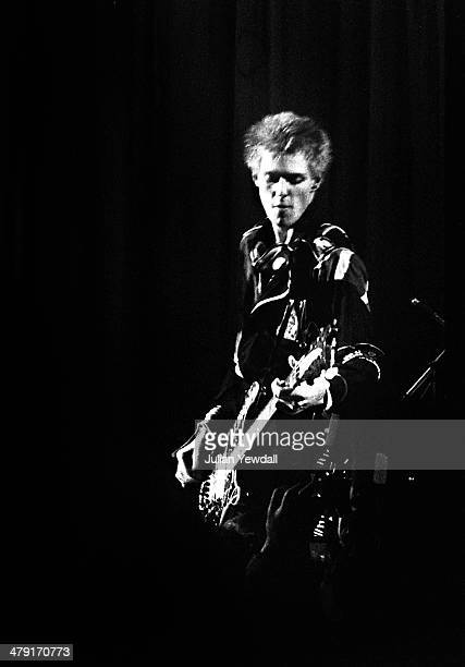 Bassist Paul Simonon performing with British punk group The Clash at the Coliseum Harlesden London 11th March 1977