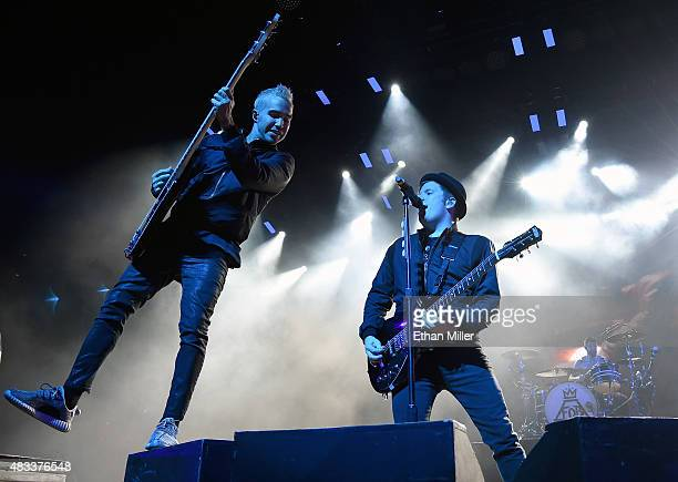 Bassist Pete Wentz frontman Patrick Stump and drummer Andy Hurley of Fall Out Boy perform at the Mandalay Bay Events Center during a stop of the Boys...