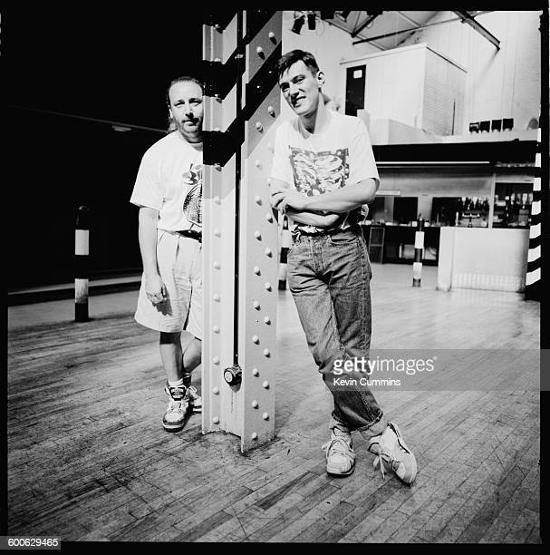 Bassist Peter Hook and drummer Stephen Morris of British rock group New Order at The Hacienda Manchester 25th July 1990