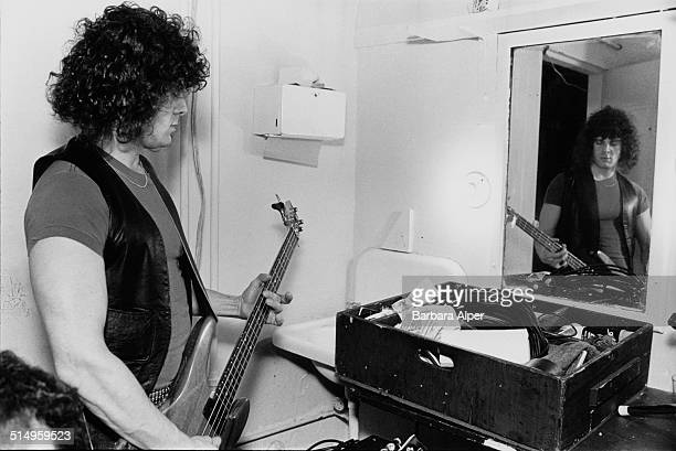 Bassist Pieter Sweval of American heavy metal group Starz backstage at the Paradise Theater in Boston Massachusetts 22nd March 1978
