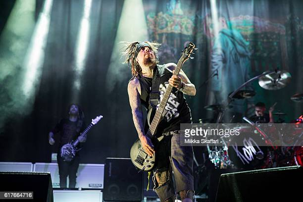 Bassist Reginald 'Fieldy' Arvizu of Korn performs at Aftershock Festival at Discovery Park on October 23 2016 in Sacramento California