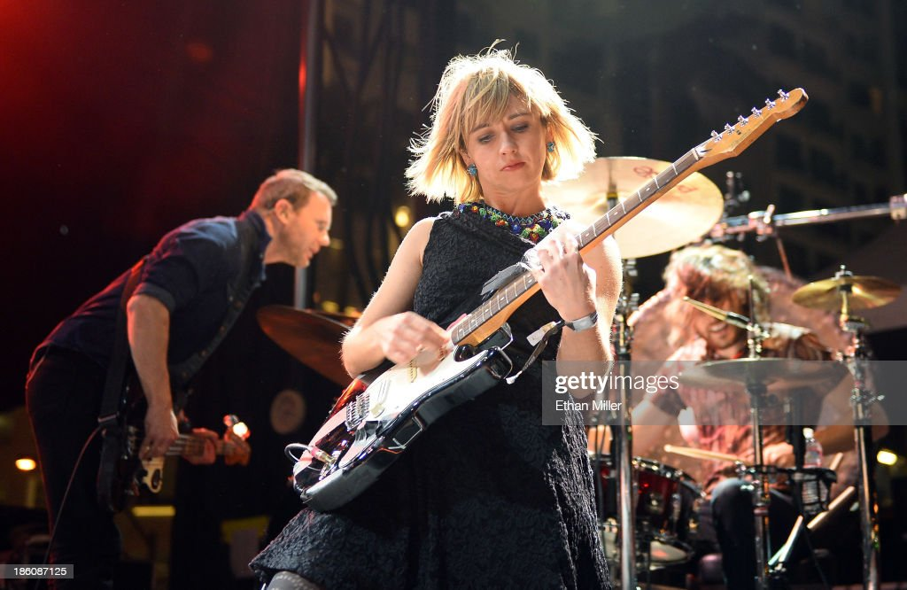 Bassist Rhydian Dafydd, singer/guitarist Ritzy Bryan and drummer Matt Thomas of The Joy Formidable perform during the Life is Beautiful festival on October 27, 2013 in Las Vegas, Nevada.
