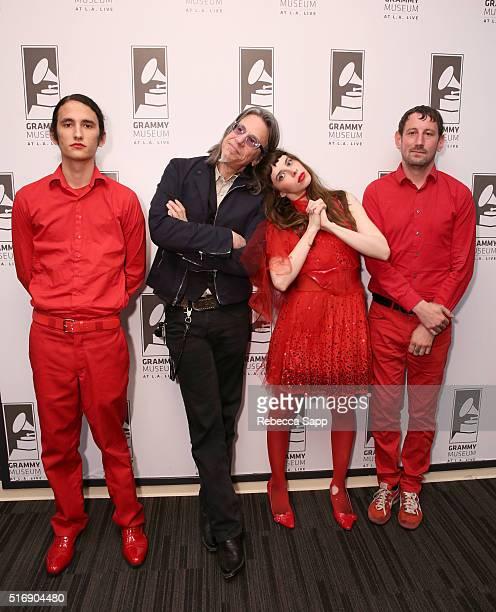 Bassist Riko RodriguezLopez Vice President of the GRAMMY Foundation Scott Goldman singer/musician Teri Gender Bender and producer/drummer Chris...