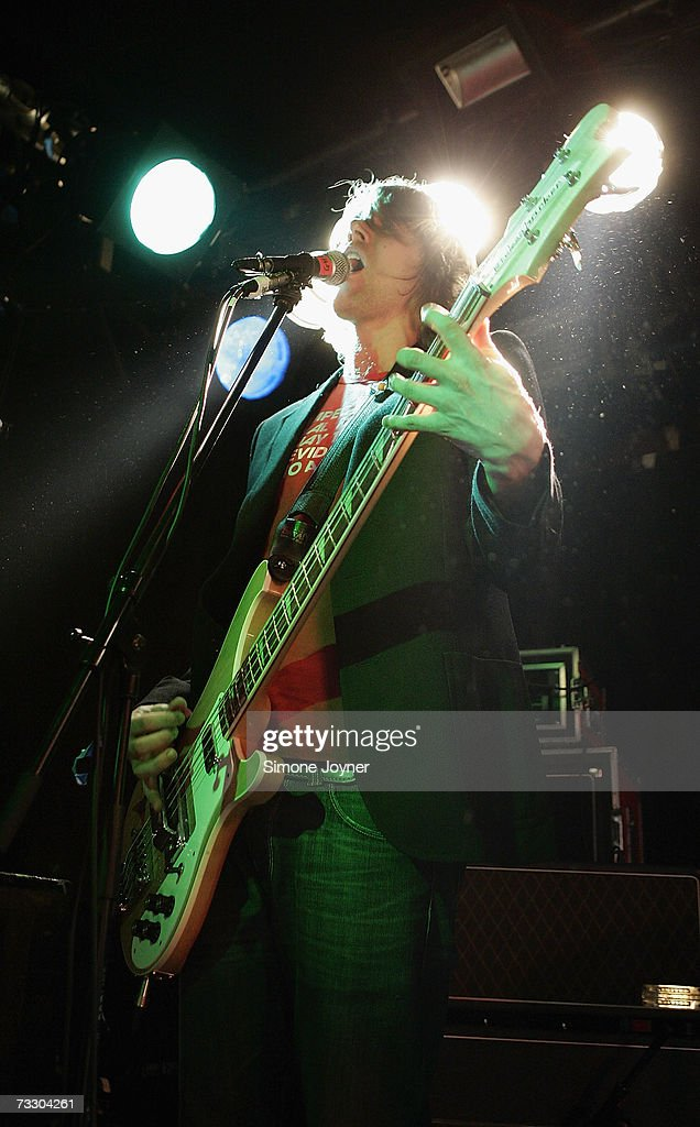 Bassist Robbie Smith of Ghosts performs live on stage at Camden's Barfly on February 12 2007 in London England British bands 'Ghosts' and 'Air...