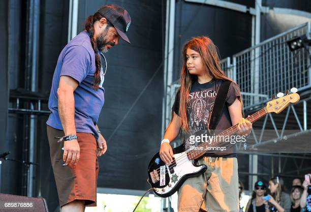 Bassist Robert Trujillo of Metallica and son Tye Trujillo of The Helmets on Day 3 of BottleRock Napa Valley 2017 on May 28 2017 in Napa California