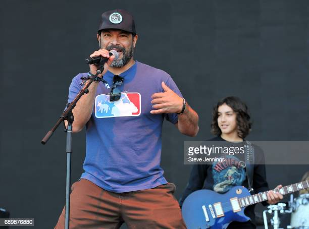 Bassist Robert Trujillo of Metallica introduces The Helmets which includes Bryan Ferretti on Day 3 of BottleRock Napa Valley 2017 on May 28 2017 in...