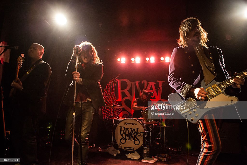Bassist Robin Everhart, vocalist Jay Buchanan, drummer Michael Miley and guitarist Scott Holiday of Rival Sons perform at The Echo on January 9, 2013 in Los Angeles, California.