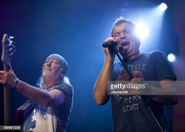 Bassist Roger Glover and singer Ian Gillan of the English band Deep Purple perform live during a concert at the MaxSchmelingHalle on October 26 2013...