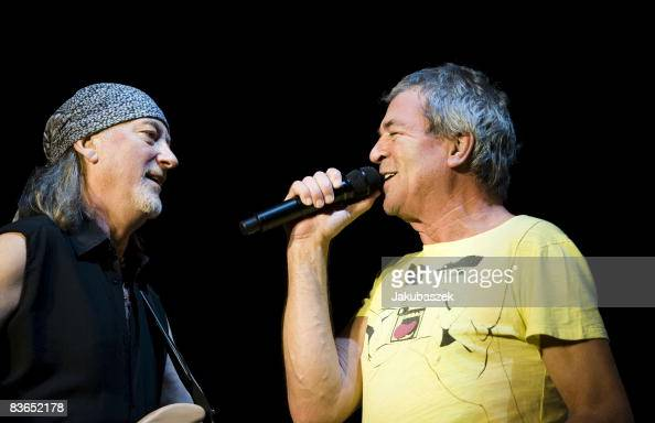 Bassist Roger Glover and singer Ian Gillan of the English rock band 'Deep Purple' performs live during a concert at the MaxSchmelingHalle on November...