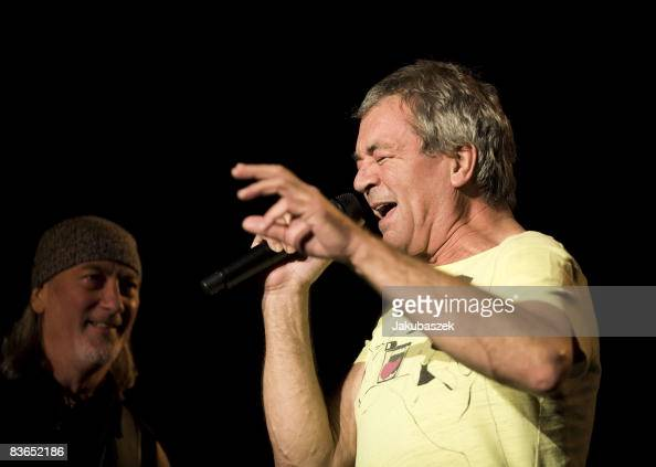 Bassist Roger Glover and singer Ian Gillan of the English rock band 'Deep Purple' perform live during a concert at the MaxSchmelingHalle on November...
