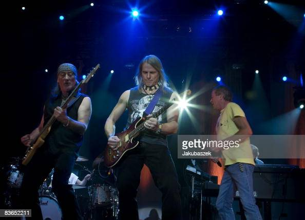 Bassist Roger Glover guitarist Steve Morse and singer Ian Gillan of the English rock band 'Deep Purple' perform live during a concert at the...