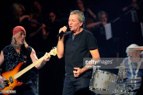 Bassist Roger Glover lead singer Ian Gillan and drummer Ian Paice of Deep Purple perform at The Pearl concert theater at the Palms Casino Resort on...